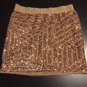 BCBG Max Azria rose gold sequin skirt
